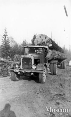 """A loaded Elk River Timber Co. logging truck - note the log apparently flying in the sky? Must be using a """"high line"""" to move timber"""