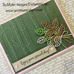 For this weeks' Global Design Project #088 challenge, I combined the colors of pink and green, a favorite combination. After running the Always Artichoke cardstock through the Big Shot with the Woodland embossing folder, it was layered on Blushing Bride, and a Crumb Cake card base. A Flourish Die cut the bundle of leaves …