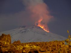 Mt Etna showing off in the snow.  This is the view my brother in law sees from his balcony in Mascalucia.