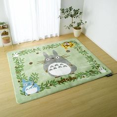 Rug Carpet - 185x185cm - Totoro  Chu  Sho  Kurosuke  Nekobus - Ghibli - 2013 (new)