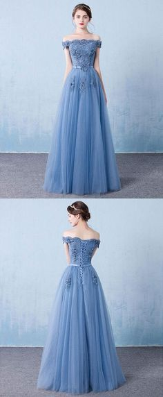 Blue tulle lace off shoulder long prom dress, bridesmaid dress P0165 #shoppingonline #promdresses #longpromdresses #bluepromdresses #2018promdresses #2018newstyles #fashions #styles #hiprom
