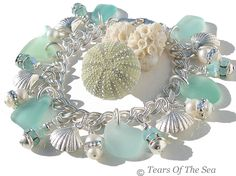 A Ballet In The Sea ~ Aqua Charm Sea Glass Bracelet ~ Sterling Silver Shell Jewelry, Sea Glass Jewelry, Beach Jewelry, Jewelry Gifts, Jewelery, Handmade Jewelry, Feet Jewelry, Bling, Lesage