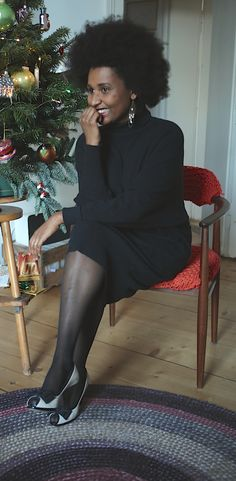 Christmas Outfit: Thrifted turtleneck wooldress.
