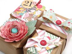 3 free cut files to make: the flower, the pinwheel, and the bow (boxes by Kim Watson for October Afternoon)