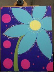 This is a very FUN painting. great for kids and adults! Very cheerful, large daisy. 16x20 Acrylics  FOR SALE $35 (Add a name or quote if you'd like!) Custom orders available too, in your choice of colors!  Painted by Melissa Cain