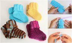 Fast and Easy Baby Socks Crochet Tutorial - Yarn & Hooks Crochet Baby Socks, Crochet Socks Pattern, Crochet Cozy, Crochet Flower Patterns, Crochet Baby Booties, Baby Patterns, Baby Knitting, Knitted Baby, Free Crochet