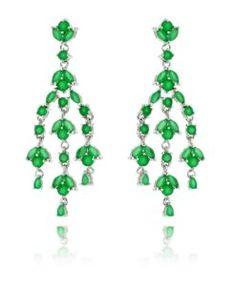 brinco candelabro esmeralda com zirconias navetes semi joias para festas