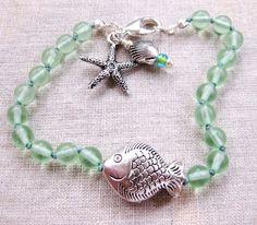 Tidepool - silver seafoam beaded coastal bracelet by SeaSide Strands