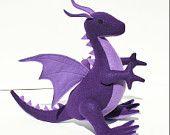 Purple Dusk Dragon Fantasy Plush, Handcrafted of Eco Felt, Mythical, Stuffed Animal Toy, Handmade, Eco Friendly, Boys Gift