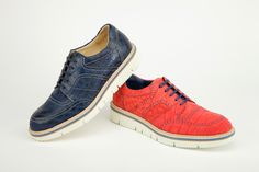 Casual shoes in crocodile, nubuk and garment dyed finishing, red and blue, constructed rubber outsole with genuine leather intersole and natural welt.  Calzature casual in coccodrillo, finitura nubuk e tinto in botte, colore rosso e blue, suola in gomma costruita con intersuola in vero cuio e guardolo naturale.    #menfashion #menshoes #madeinitaly #damishoes  www.damishoes.com