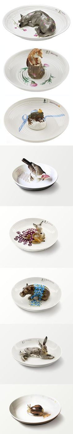 Animal porcelein bowls designed by Hella Jongerius for a commission by Nymphenburg