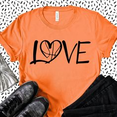 Basketball Love Shirt This t-shirt is Made To Order, one by one printed so we can control the quality. Basketball Shirt Designs, Basketball Mom Shirts, Love And Basketball, Basketball Quotes, Basketball Drawings, Basketball Stuff, Girls Basketball, Basketball Tattoos, Basketball Birthday