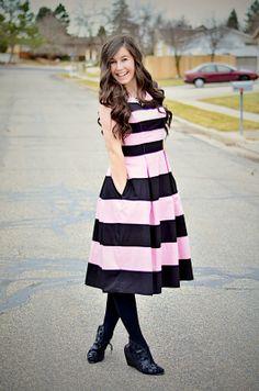 My valentines outfit I wore! @eShakti.com  (eshakti, eshakti dress, pink and black striped dress, pink and white, pink dress, pink dress outfit, valentines day, valentines day inspired outfit, )