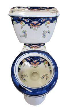 Mexican Talavera Toilet Set 'Claridad' - Terra Artesana