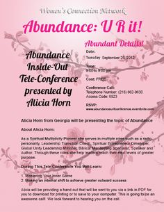 Abundance U R It! Event.  Register at http://www.womenconnection.net
