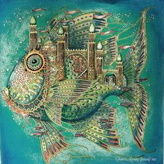 Fish Castle by Tomislav Tomic ~ Zemlja snova Coloring Book done with Prisma Colored Pencils, Pan Pastels and Posca White Pen. #adultcoloringbook #adultcolouringbooks #coloringbooks #coloringbooksforadults #colouringbook #colouringbooksforadults #zemlja #zemljasnovacoloringbook #tomislavtomic #prisma #prismacolor #posca #micronpen #zigbrushables