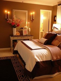 Love this master bedroom the dark wood navy blue walls The color blue makes you feel