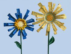 upcycled metal flowers