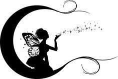 Moon and Fairy Tattoo Design