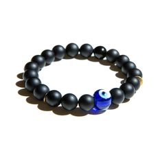 Loving this Evil eye bracelet with two little brushed gold disks. Banzai Child