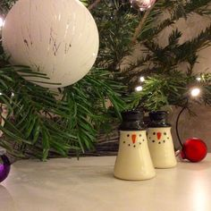 Wee bogle snowmen under the tree. Available at Studio One in Edinburgh.
