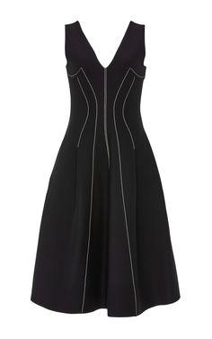 Wool Silk Crepe Contrast Stitch Dress by Derek Lam Now Available on Moda Operandi