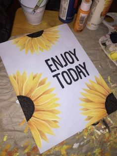 beautiful than each other canvas painting diy, flower painting, painting bedroom, decoration chalk, sunflower painting ideas. Cute Canvas Paintings, Art Paintings, 3 Canvas Painting Ideas, Dorm Room Paintings, Paintings With Quotes, Cute Easy Paintings, Flower Painting Canvas, Happy Paintings, Canvas Ideas