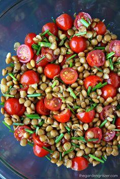 El Jardín Grazer: 5 Minuto de lentejas Ensalada de tomate