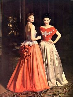 Bettina in Jacques Fath (l) and unknown model in Jeanne La… | Flickr