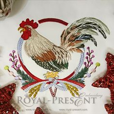 Machine Embroidery Design Rooster with Japanese Wreath decoration
