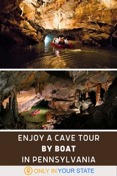 Tour a beautiful cave by boat in Pennsylvania. Explore a unique cave - the only one of its kind in America. This makes for a great family day trip or date. | Things To Do | Kid-Friendly | Travel | Adventures Travel Usa, Travel Info, Travel Ideas, Travel To Saudi Arabia, Places To Travel, Places To Go, Cave Tours, Vacation Destinations, Vacations