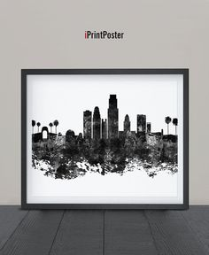 Los Angeles Abstract Los Angeles skyline by iPrintPoster on Etsy