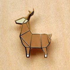 hug a porcupine - Origami Deer Brooch