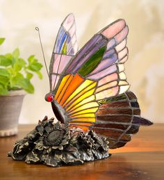 Tiffany Style Stained Glass Butterfly Lamp