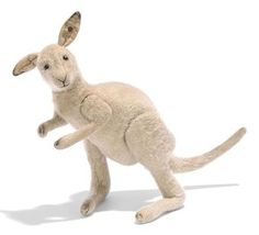 A STEIFF JOINTED BURLAP KANGAROO, (5235), grey, black boot button eyes, black stitching, velvet ear-lining, swivel head, inoperative squeaker and FF button, circa 1910 --11½in. (29cm.) high (some slight wear to pile)