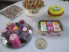 American Girl doll food-- DIY dessert, cookie tray, blueberry pie, sponge cake, petits four
