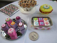 American Girl doll food-- DIY dessert, cookie tray, blueberry pie, sponge cake, petits four