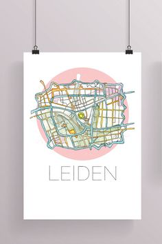 Map of Leiden Watercolor Painting Leiden Leiden The by girlkeven