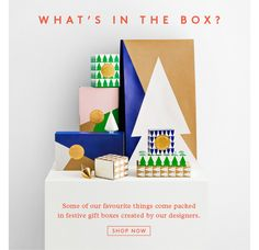 What's in the box? Some of our favourite things come packed in festrive gift boxes by our designers.