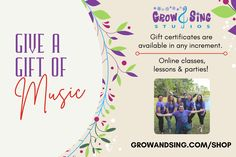 🎁 Looking for the perfect last minute gift idea? A gift certificate (in any amount) for classes, lessons or parties at Grow and Sing Studios! Easily purchase and pick your date for it to be sent via email to your recipient. Gift certificates can be applied to LESSONS, CLASSES AND PARTIES! Look over our shop at growandsing.com/shop Go directly to gift certificate purchase page at growandsing.com/gift-certificates/ HAPPY GIFTING! Find Us On Facebook, Piano Lessons, Last Minute Gifts, Gift Certificates, Photo Booth, Book Art, Studios, Singing, How To Apply