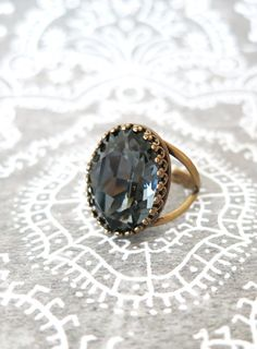 Silver Night Grey Crystal Cocktail Ring, Brass Adjustable Ring Swarovski Crystal Oval Stone Cocktail Ring Rose Gold Vintage Statement Ring, by GlitzAndLove, www.glitzandlove.com