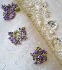 French Knots, Bullion Stitch with blanket stitch circles