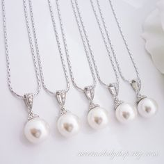 10% OFF SET of 3 Bridesmaid Gift Wedding Jewelry Bridesmaid Jewelry Bridal Jewelry White OR Cream Swarovski Round Pearl Drop Necklace on Etsy, $47.52