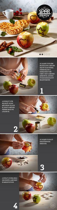 Almaláng: Az alma sokoldalú alapanyag a konyhában - de még dekorációs célokra is tökéletes, a szegfűszeggel mintázott almából készült illatos mécsestartó ékessége lesz az asztalnak. Az elkészítéséhez az almákon kívül kis méretű pogácsaszaggató, vagy éles kés, mécsesek és 1-2 zacskó egész szegfűszeg kell.