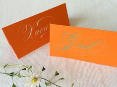 1 Calligraphy Place Card, Mango Coloured Card Board, with White or Teal Coloured Ink (Folded Card) by Federflug