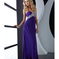 Jasz Couture 2013 Prom - Purple Strapless Rhinestoned Chiffon Gown - Unique Vintage - Cocktail, Pinup, Holiday & Prom Dresses.