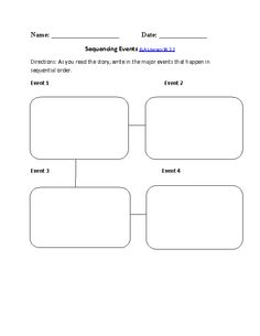 Sequencing Events ELA-Literacy.W.3.3 Writing Worksheet