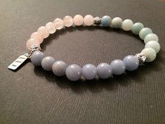 Angelite, Amazonite and Rose Quartz gemstone bracelet from http://gracefaithandhope.com