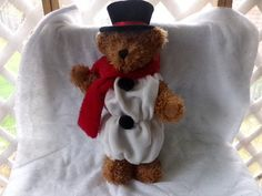 Christmas Plush 17 inch Teddy Bear with a red by Morethebuckles