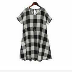 2015 Summer Women's Dresses Black/white Check Short Sleeve Loose Waist Sashes Casual Knee Length Pregnant Women Plaid Dress